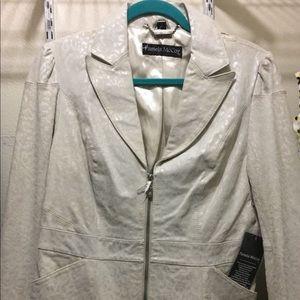 Pamela  McCoy White Leather Jacket
